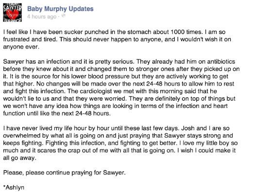 Ashlyn's FB Post about Sawyer's Infection 2013-05-25