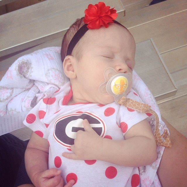 "Ashlyn's Post - ""teeny tiny bulldog fan of course! teaching her right from the start - I think I even heard her say ""Go Dawgs!"""""