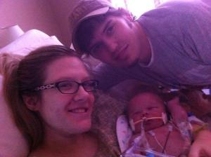 Ashlyn, Josh and Sawyer  Approximately 12 hours after birth ... just before transport to Egleston Children's Hospital