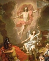 Resurrection of Christ by Noel Coypel, 1700, using a hovering depiction of Jesus