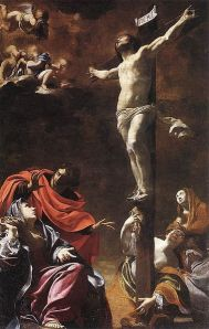 The Crucifixion (1622) by Simon Vouet; Church of Jesus, Genoa