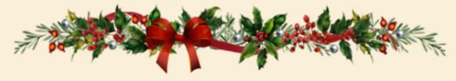 holly garland with ribbon