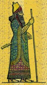 King Sennacherib of Assyria in Royal Dress - This painted sketch is of the mighty Assyrian king Sennacherib relief which was discovered on the walls of his palace in Khorsabad, near the ruins of ancient Nineveh.