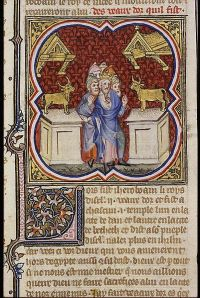 Jeroboam sets up two golden calves, from the Bible Historiale. Den Haag, MMW, 10 B 23 165r Date 1372