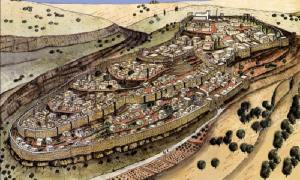 Artist's depiction of Jerusalem at the time of Hezekiah showing the second wall.