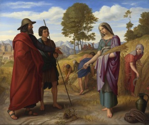Julius Schnorr von Carolsfeld: Ruth in Boaz's Field, 1828. The Book of Ruth tells the story of Ruth and her mother-in-law Naomi. After her husband's death they both move to Naomi's native land where she gets redeemed from poverty and widowhood through Ruth by her goel, Boaz.