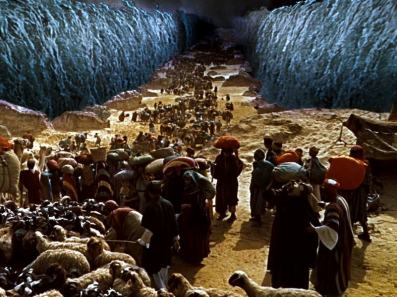 Israelites Cross Through Parted Waters of Red Sea
